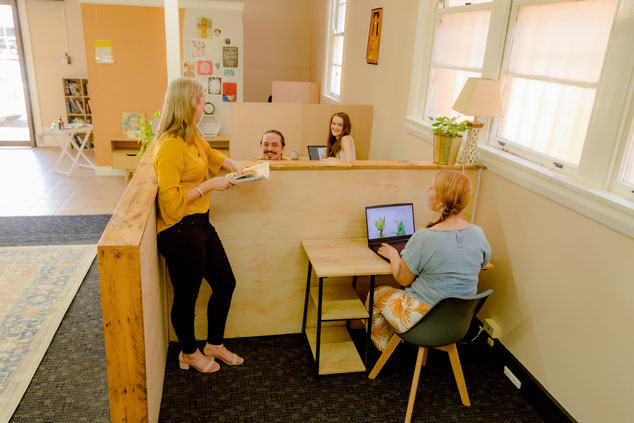 Group of people co-working in an office space, The Business Hive Kyogle